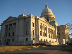 A view of the Capitol Building at sunset. Just outside Downtown Little Rock.