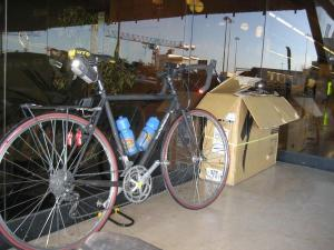 First shot of the bike in Europe at the airport in Lisbon! Exciting! Notice that the bike is now sans stuff sack over the rear wheel...just the two panniers - also exciting!