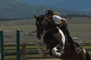 Channing Seideman jumping on her horse, Lexus.