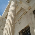 This is either the Propylaea or the Beule gate; Leading toward the Parthenon; Acropolis, Athens.