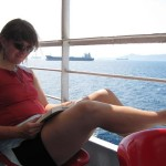 Jenine enjoys some reading on a ferry ride to the island of Poros. Poros lies immediately east of the Peloponnese; it was from there that we began our journey across toward Keffalonia. Interestingly, when we arrived at Keffalonia we arrived at a town called Poros.