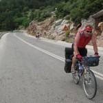 A German cyclist, Mike, who joined us on day one of our journey across the Peloponnese and stuck with us (or we with him) all the way to Kilini on the west coast of the island. If the Peloponnese can be called an island.