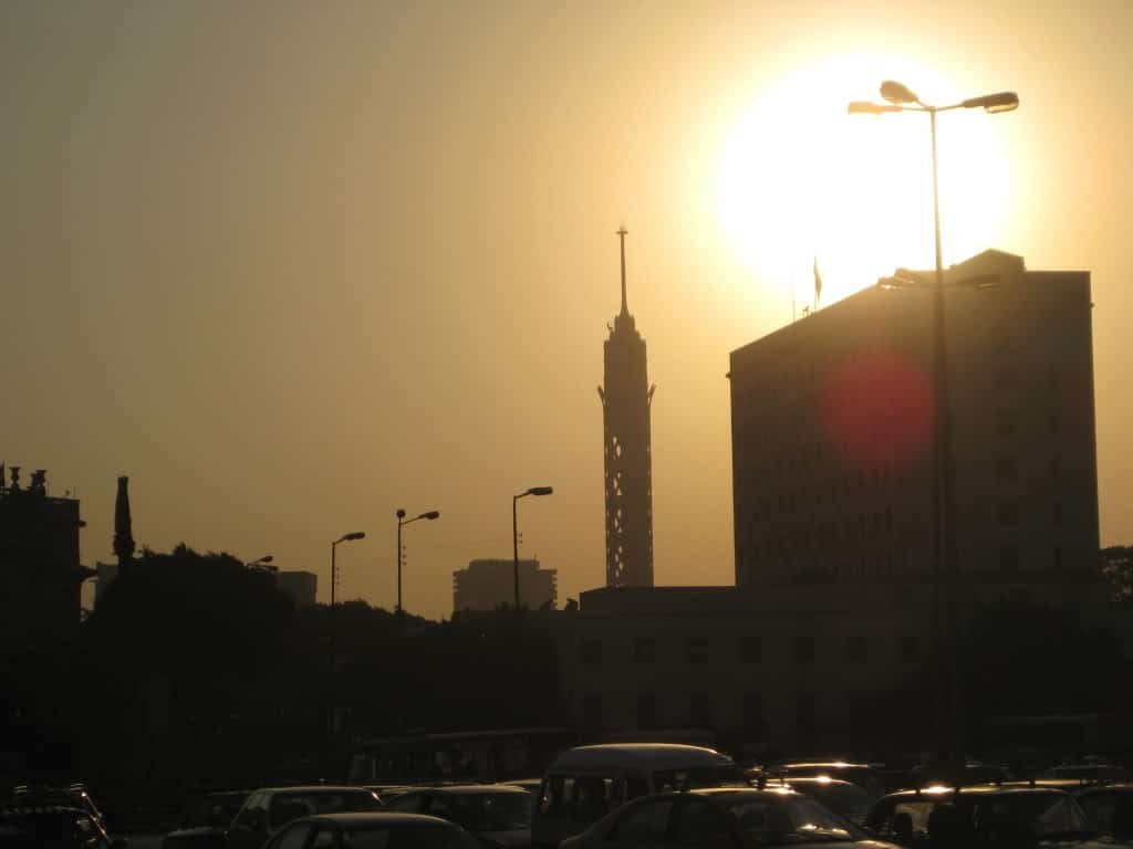 View of The Cairo Tower; Tahrir Square.  Cairo.