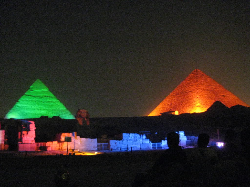 Chefren's Pyramid, the Sphynx, and The Great Pyramid of Cheops.  Giza, Egypt (Cairo).
