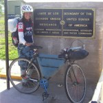 Deanna Adams at the finish of the Great Divide Bike Race.