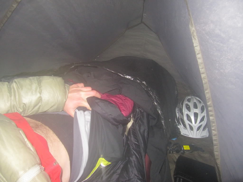 Getting every degree of warmth that I can from my sleeping bag - check out the layerage!!!
