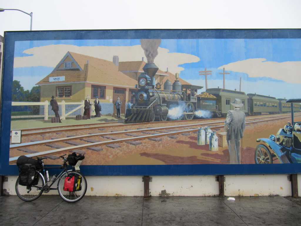 Vale, Oregon is full of murals.  This one depicts a train called
