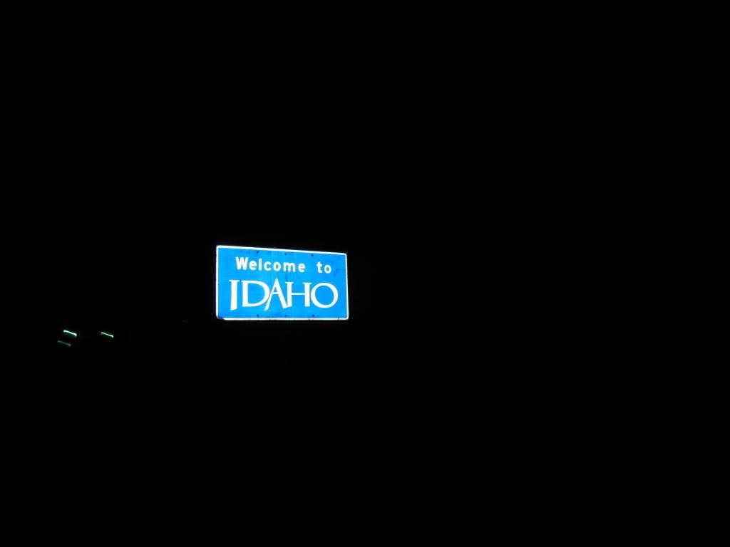 Night entry into Idaho.