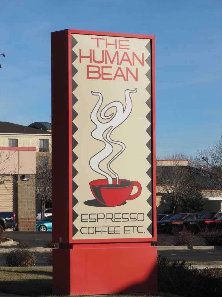 This coffee shop is in Boise...Idaho seems to be at the heart of the Drive-Thru coffee craze that has swept the nation.  I believe that the idea of the Human Bean originated in Roald Dahl's