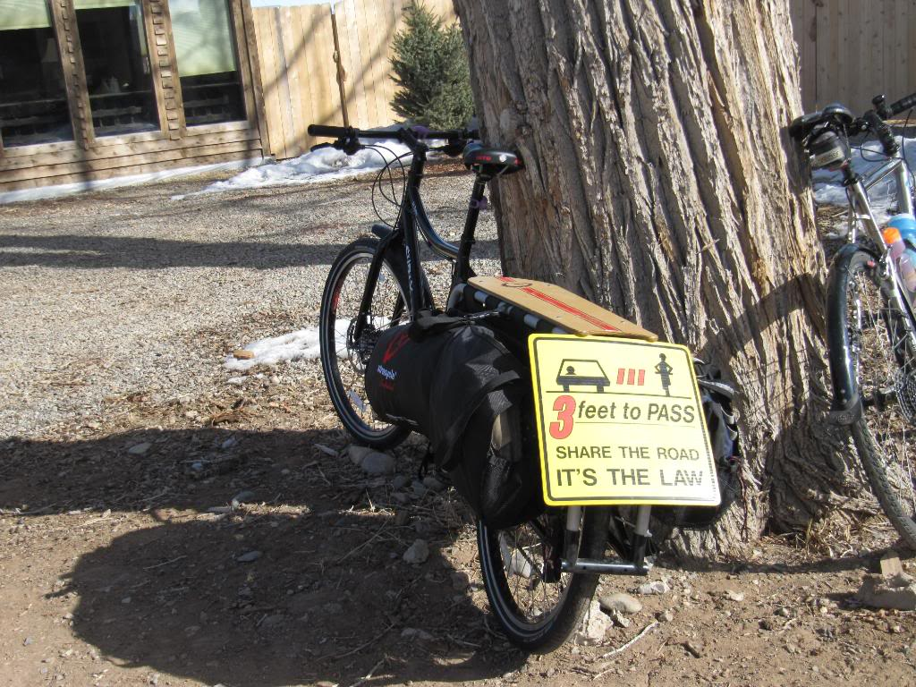 Dave made the journey on a Surly Big Dummy - fortunately for our group he was good enough to ride with this yellow sign on the back!  *The bike actually is called a Big Dummy.