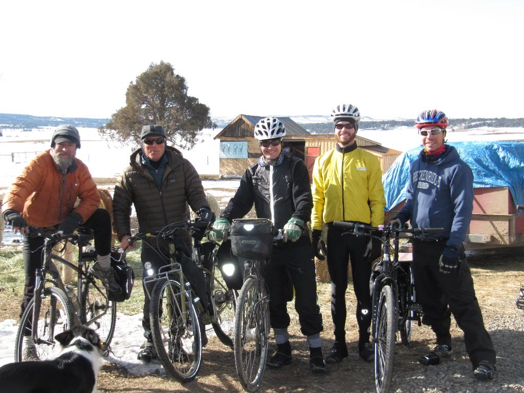 These are the people who came out to Norwood to ride the last day of the tour! (L) David Brankley, Juju Jullien, me, Daniel Murray and Dave LeFevre.  I believe that Nick Leclaire was off somewhere making adjustments to his bicycle,