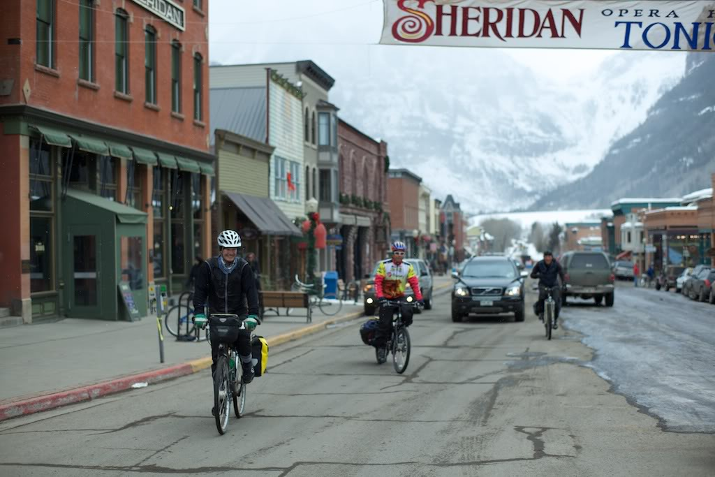 Rolling back onto Telluride's main street at long last.  I was just happy to have not crashed on the sketchy black ice that coated the opposite side of the street.  That would've been unfortunate.  Photo courtesy of Damon Johnston.