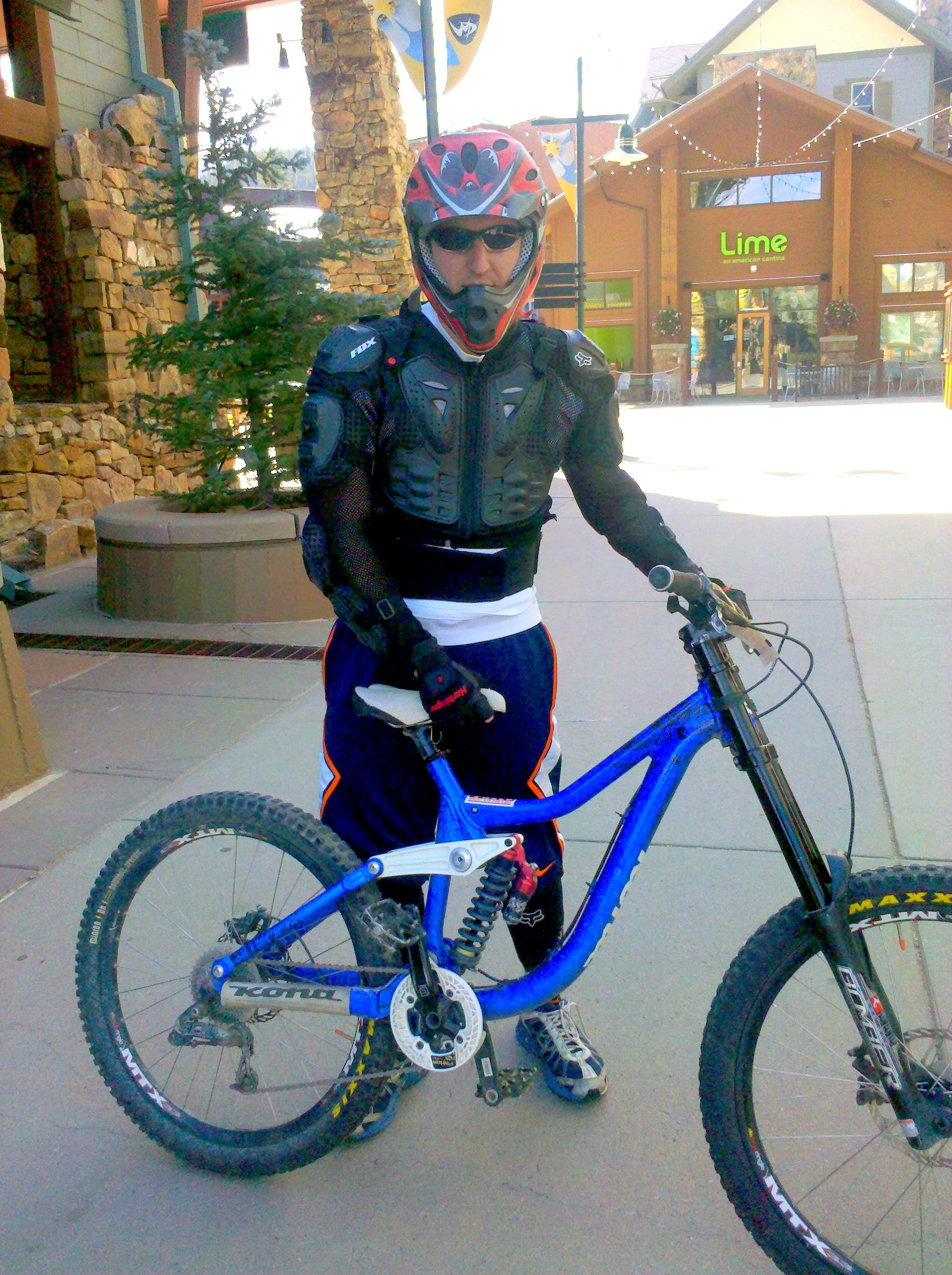 Steven Riss is armored up for a day of Downhill mountain biking at Winter Park.