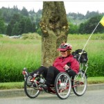 Sherry Dariotes pedals in the Flying Wheels Summer Century ride in Washington.