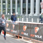 Brad Rinehart crossing the finish line of the Denver Rock 'n' Roll Marathon.  Completing a marathon had been a long-term goal for Brad.  He experienced three seizures on the morning of the race.