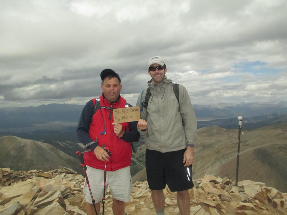 Brad Rinehart and Charles Koller atop Mt. Sherman.  The annual climb was organized by John Olson and Colorado Climbers for Epilepsy Awareness.